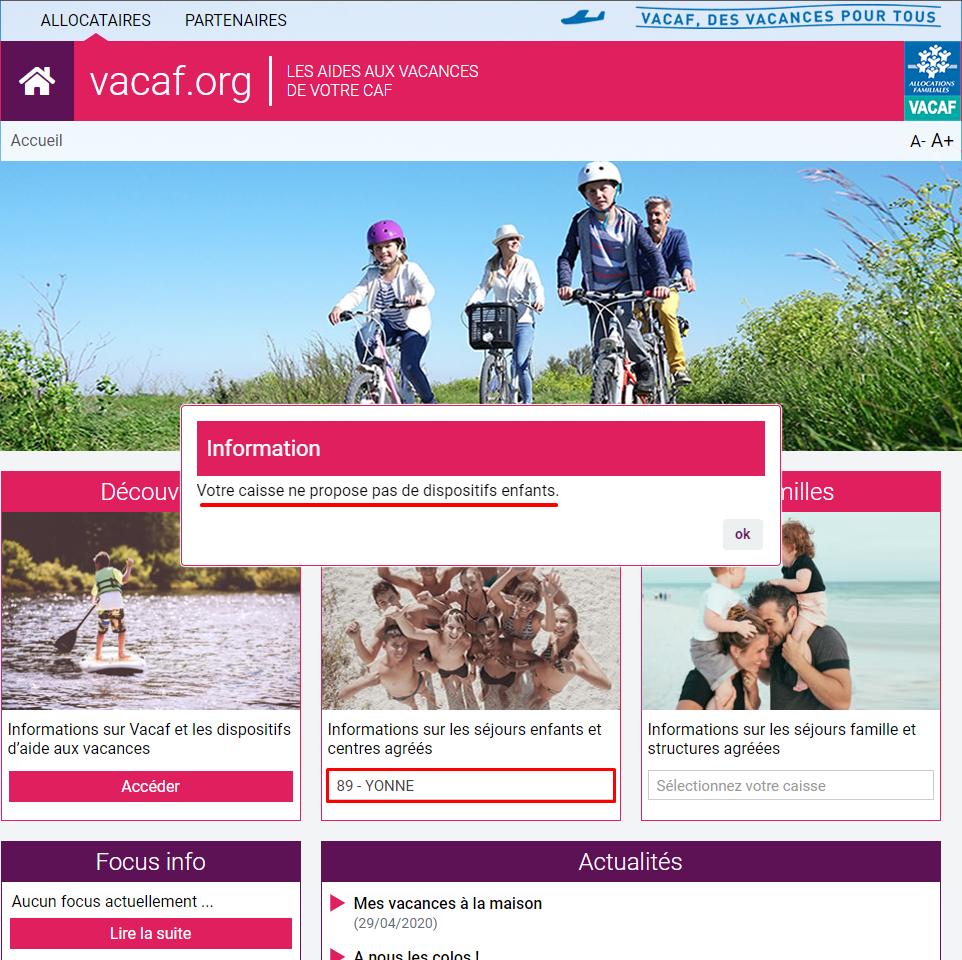 VACAF site CAF de l'Yonne aucun dispositif de vacances enfants sur le site de VACAF